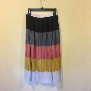 ASOS pleated striped maxi skirt